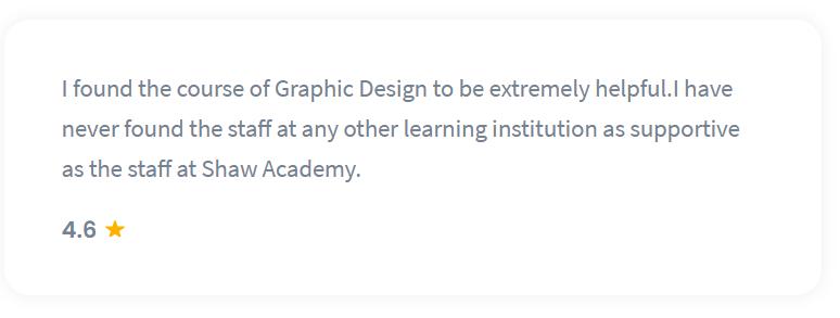 Shaw Academy Design Course Reviews - 4.6 stars