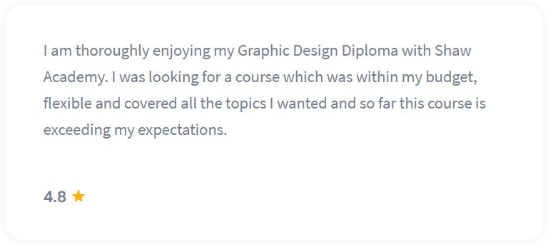 Shaw Academy Design Course Reviews - 4.8 stars